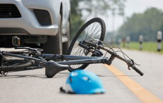 Bicycle accident on road