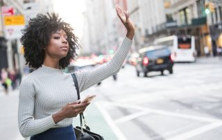 Woman waiting for rideshare